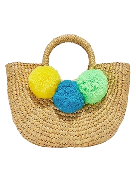 multicolored pompom basket