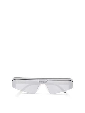 Ski rectangle sunglasses silver and white
