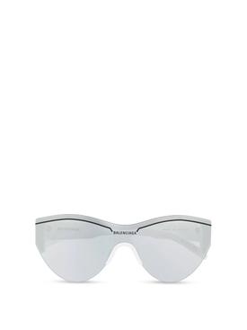 Ski cat eye sunglasses silver and white