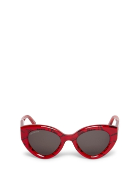OVERSIZED CAT EYE SUNGLASSES RED AND BLACK