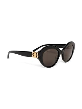 Round BB Logo Sunglasses, Black