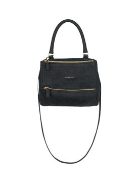 Croc-Embossed Mini Pandora Bag Black