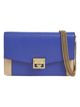 Blue and tan Gv3 wallet on chain bag