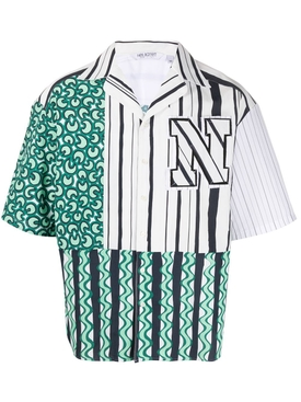 Green Multicolored Stripe Bowling Shirt