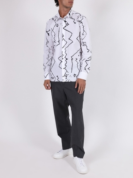 White and black woven shirt