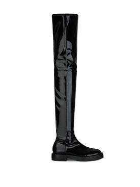 Shiny thigh boots black