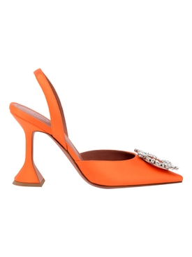 BEGUM SLING SATIN SANDAL, ORANGE