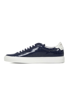 Blue and white croc-embossed sneakers