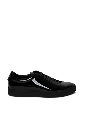 Patent Leather Low Top Lace Up Sneakers Black