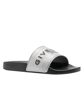Silver Metallic Slide Sandal