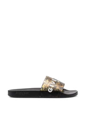 Marble Effect Slide Sandal Black and Yellow