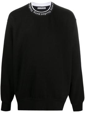 Logo collar sweatshirt BLACK
