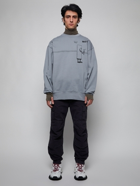 Oversized cotton sweatshirt, fog grey