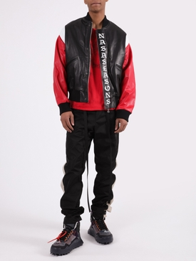 Multicolored logo leather bomber jacket