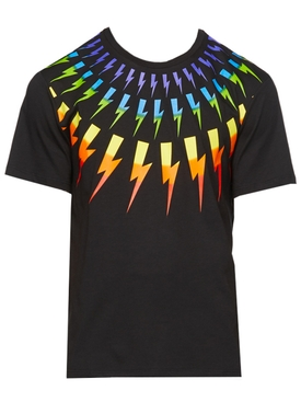 Black Multicolored Lighting bolt T-Shirt