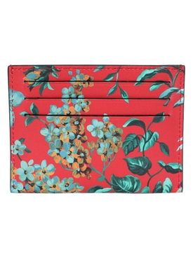 Red Tropical Flower Print Card Case