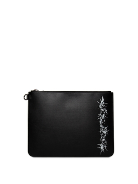 LARGE ZIPPED BARBED WIRE LEATHER POUCH