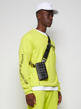 Embossed Anitgona Vertical Organizer Crossbody Bag