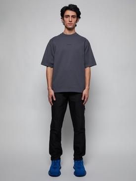 Embroidered Logo High Neck T-Shirt, Slate Grey