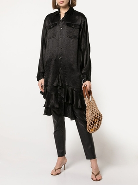 Ruffled Woven shirt dress