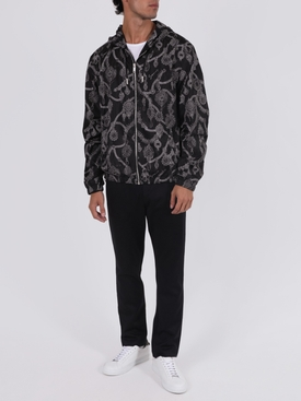 Black and white printed windbreaker