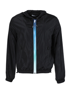 Black address-zip windbreaker jacket
