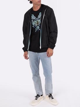Black address-zip windbreaker jacket
