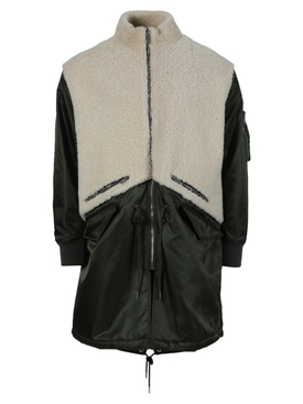 LEATHER AND SHEARLING PARKA JACKET