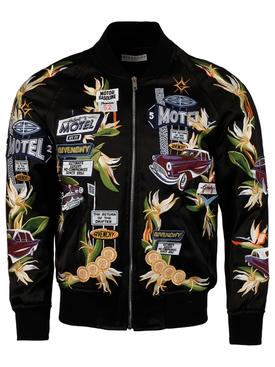 Embroidered Motel Car Motif Bomber Jacket, Black