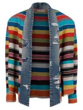 Multicolored stripe kimono cardigan