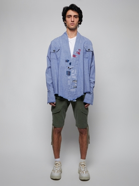 chambray kimono jacket, blue