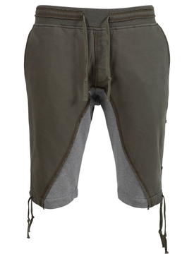 50-50 FLEECE SHORTS, ARMY GREEN AND GREY
