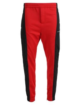 Red and black logo jogger pants