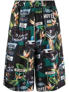 Silk car print shorts