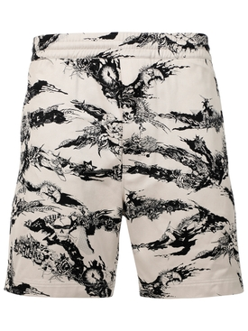 GOTHIC PRINT SHORTS NATURAL WHITE AND BLACK