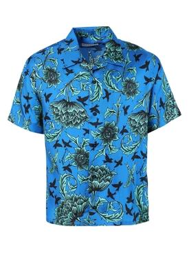 Blue and mint green silk Hawaiian shirt