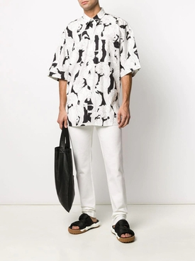 Black and White Floral Bowling Shirt