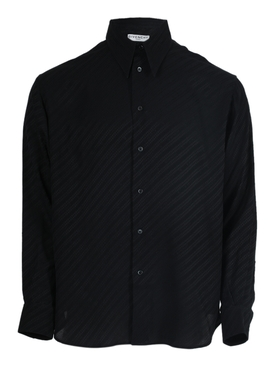 Black stripe silk button-down shirt