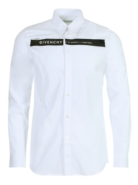 White logo button-down shirt