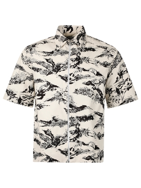 GOTHIC PRINT SHORT-SLEEVE SHIRT NATURAL WHITE AND BLACK