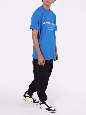 Ocean blue oversized sporty logo t-shirt