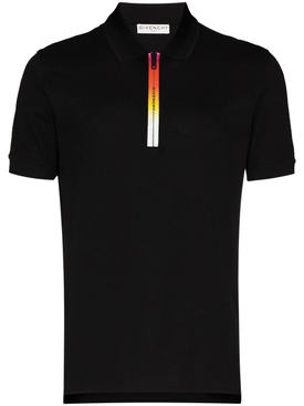 Gradient logo zip Polo shirt