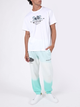 White and aqua floral print logo t-shirt