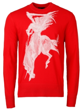 REAPER PRINTED CREW NECK SWEATER RED