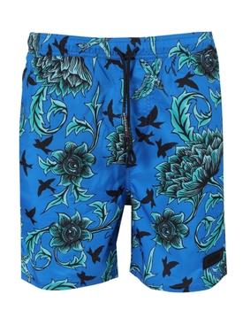 Ocean blue print swim shorts