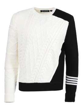 Black and white wool knit sweater