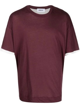 Layered jersey t-shirt, BURGUNDY