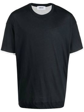 Layered jersey t-shirt, BLACK