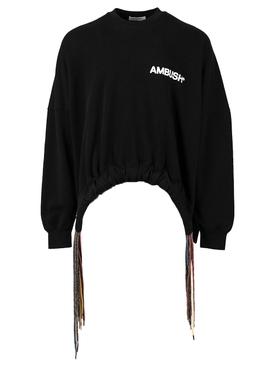 Multi-cord crewneck sweatshirt, BLACK