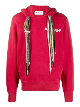 Multi-cord hoodie sweatshirt, RED AND WHITE